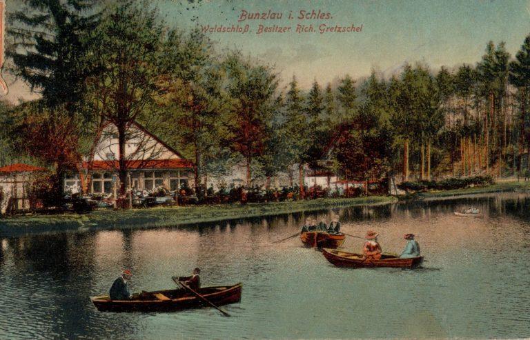 Restauracja Leśny Zamek (Waldschloss), widokówka, przed 1921 r.