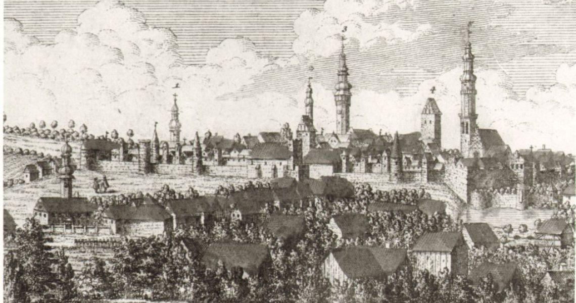 Panorama Bolesławca, grafika według rysunku F.B. Wernera, 1739 r.