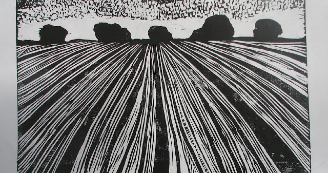 Pejzaż, linoryt, 50x70, 1999; fot. z archiwum Magdaleny Koniecznej